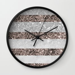 White Marble Rose Gold Glitter Stripe Glam #2 #minimal #decor #art #society6 Wall Clock