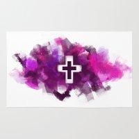 cross Area & Throw Rugs featuring cross by melazerg