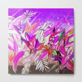 Watercolor Botanical Leaves Blush Rose Purple Metal Print