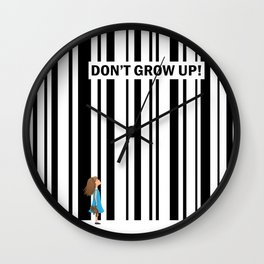 Don't grow up! - Art print with little girl and bar code Wall Clock
