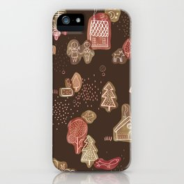 Hansel and Gretel Fairy Tale Gingerbread Pattern on Brown iPhone Case