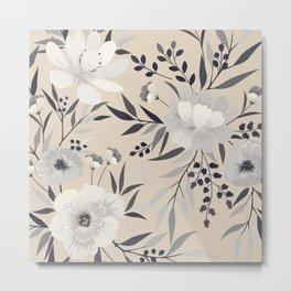 Modern, Boho, Floral Prints, Beige, Gray and White Metal Print