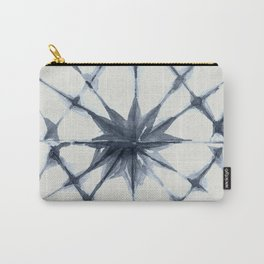 Shibori Starburst Indigo Blue on Lunar Gray Carry-All Pouch