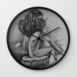 Curly Haired Woman Study in Charcoal Wall Clock