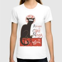 posters T-shirts featuring A French Ninja Cat (Le Chat Ninja) by Kyle Walters