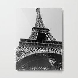 Eiffel Tower // Looking up at the World's Most Famous Monument in Paris France Classic Photograph Metal Print