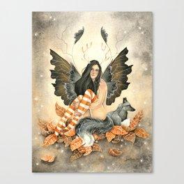 Silver Fox Fall Canvas Print