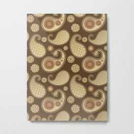 Paisley pattern, Soft Gold on Chocolate Brown Metal Print