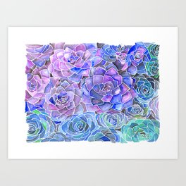 Purple and Blue Succulent Pattern Painting Art Print