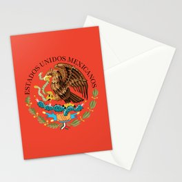 Mexican Flag seal on orange red background Stationery Cards