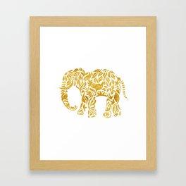 Floral Elephant in Gold Framed Art Print