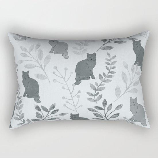 Watercolor Floral and Cat VI Rectangular Pillow