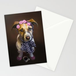 Curlers and Coffee and Puppy Dog Eyes Stationery Cards