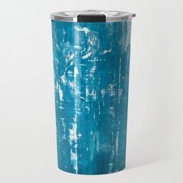 Scratched blue metallic texture Travel Mug
