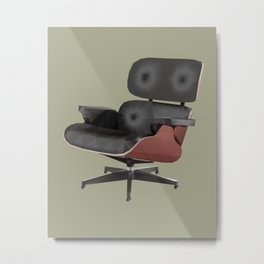 Eames Lounge Chair Polygon Art Metal Print