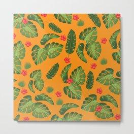 Tropical leaves Orange Metal Print