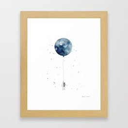 Astronaut Flying High on Moon Balloon Framed Art Print