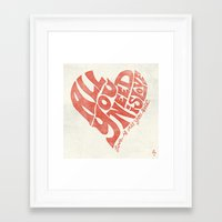 all you need is love Framed Art Prints featuring Love is all you need by Kris Petrat Design