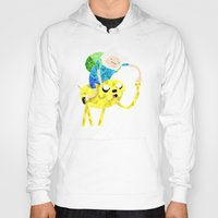 finn and jake Hoodies featuring Jake and Finn by victorygarlic