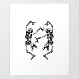 Duo Dancing Skeleton Art Print