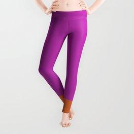 Fuschia Pink & Orange Color Block  Leggings