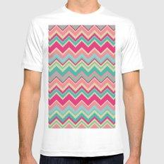 Aztec chevron pattern- pink & cream MEDIUM White Mens Fitted Tee