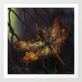 Fire Dragonfly Art Print