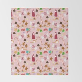 Christmas Sweeties Candies, Peppermints, Candy Canes and Chocolates on Pink Throw Blanket