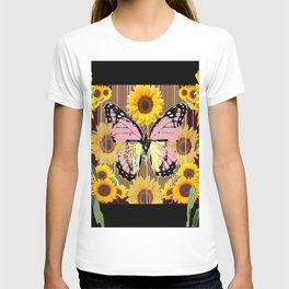 BLACK ABSTRACT PINK BUTTERFLY SUNFLOWER FLORAL T-shirt