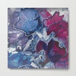 Blue and Red Abstract encaustic flowers Metal Print