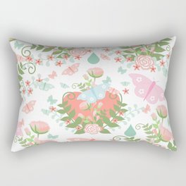 Abstract coral pink green butterfly floral illustration Rectangular Pillow