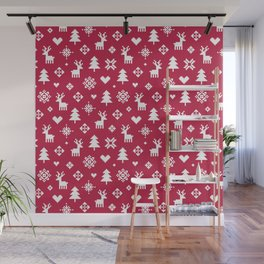 PIXEL PATTERN - WINTER FOREST RED Wall Mural