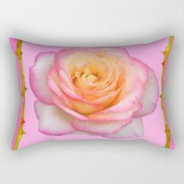 ROSE & RAMBLING THORNY CANES PINK BORDER PATTERNS Rectangular Pillow