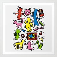 keith haring Art Prints featuring Keith Haring & Simpsons by le.duc