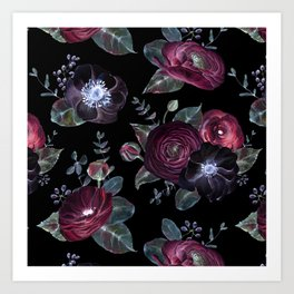 Fantasy Night Rose Red Art Print