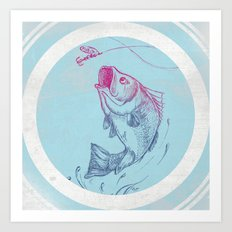 Bass jumping In Blue Circle3 Art Print