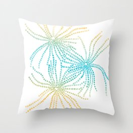 Sand Stars - Blue & Yellow Throw Pillow