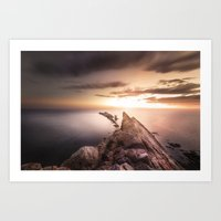Sunset Coast, Waves and Rocks Art Print