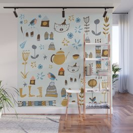 hygge cat and bird gray Wall Mural