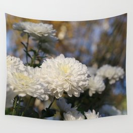 Fluffy flurries of white Chrysanthemum flowers Wall Tapestry