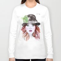 emma stone Long Sleeve T-shirts featuring Emma Stone by Vicky Ink.