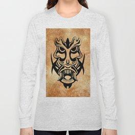 Vicious Tribal Mask Black grunge 002 Long Sleeve T-shirt