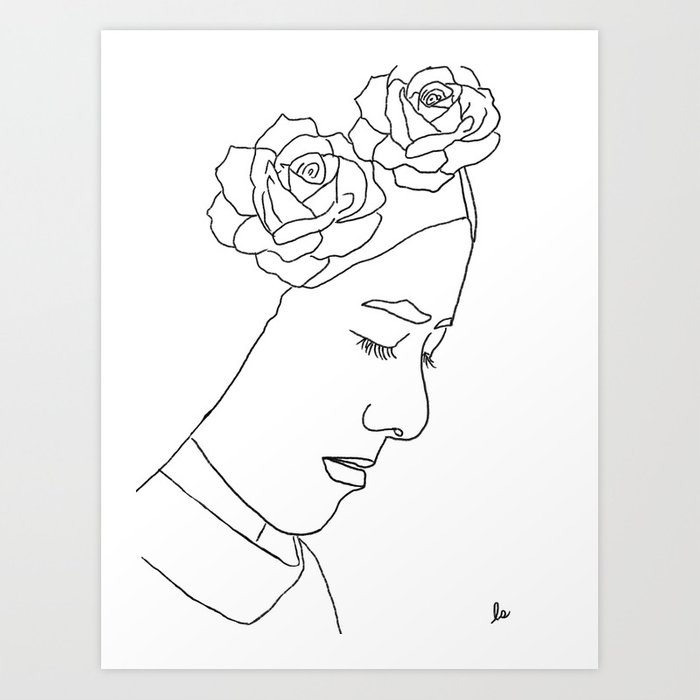 Julia (Female With Flowers Portrait Series) Art Print