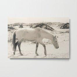 Wild Horses 3 - Black and White Metal Print