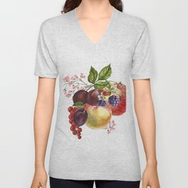 Composition of realistic fruits on a white background in vintage style. Apples, raspberries, plums, Unisex V-Neck