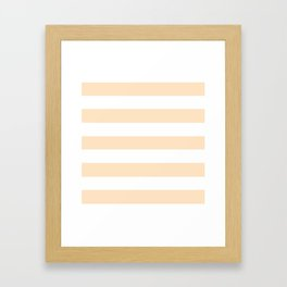 Bisque - solid color - white stripes pattern Framed Art Print