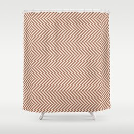 Cavern Clay SW 7701 and Creamy Off White SW7012 Hypnotic Stripe Pattern Shower Curtain