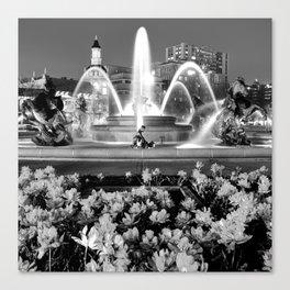 J.C. Nichols Memorial Fountain BW - Kansas City MO - Square Canvas Print