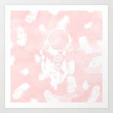 Blush pink watercolor dreamcatcher boho feathers illustration Art Print