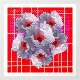 MODERN WHITE TREE PEONY FLOWERS RED FUCHSIA  ART Art Print